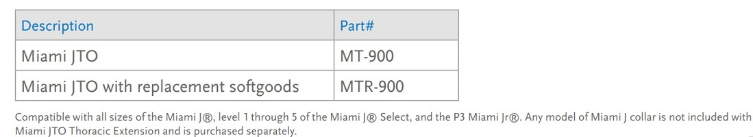 /miami j cervical collar size chart