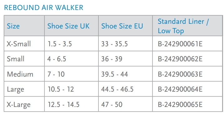 Rebound Air Low Top Size Chart